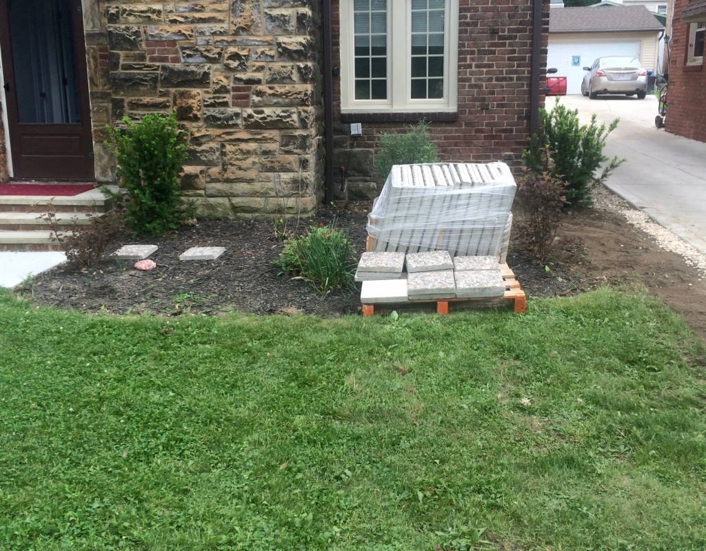 Materials for seating area arrive.